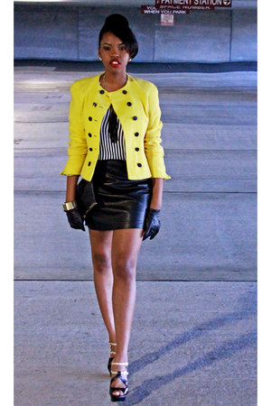 yellow button down neiman marcus blazer - black faux leather Forever 21 skirt