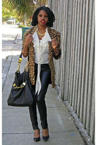 black leather pants cotton leggings - brown leopard print Saks Fifth blazer