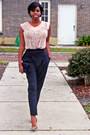 Navy-skinny-zara-pants-light-pink-lace-vintage-top