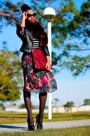 crimson pleated skirt Target skirt - black leather jacket Bebe jacket