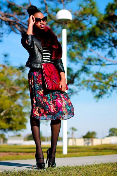 crimson pleated skirt Target skirt - black leather jacket Bebe jacket