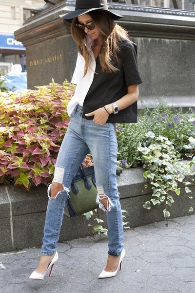 black-white SHOPgrlcom shirt - blue Levis jeans