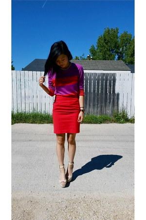 H&M skirt - Zara wedges - Michael Kors watch