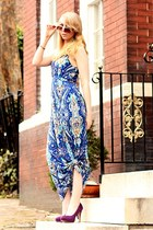 blue maxi New York and Company dress - purple pumps