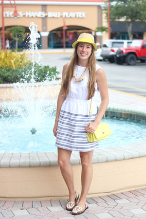 yellow Target purse - white IxStyle shoes - navy Gap dress