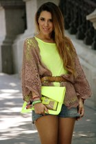 chartreuse rmodi bag - chartreuse Primark t-shirt - light brown Topshop cardigan
