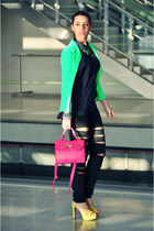 lime green rmodi necklace - hot pink BLANCO bag