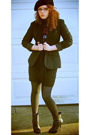 purple Express blouse - black Mossino blazer - black Forever 21 skirt - black De