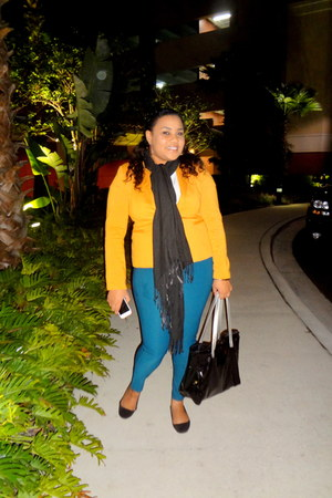 white Mango top - yellow blazer - black scarf - tote armani bag - black flats