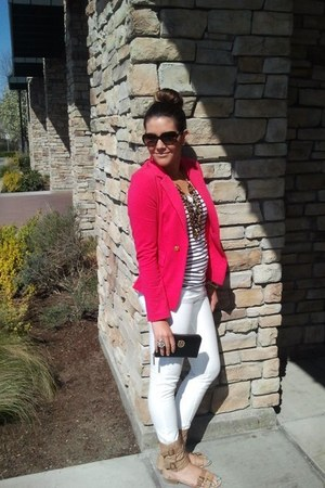 hot pink Love Culture blazer - white Paige jeans - Burberry sunglasses - H&M top