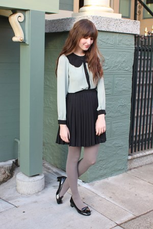 Zara shoes - American Apparel tights - thrifted skirt - Pixie Market blouse
