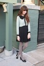 Zara-shoes-american-apparel-tights-thrifted-skirt-pixie-market-blouse