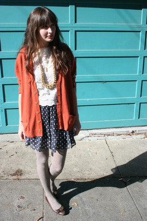 vintage blouse - hand-me-down shoes - H&M tights - thrifted cardigan