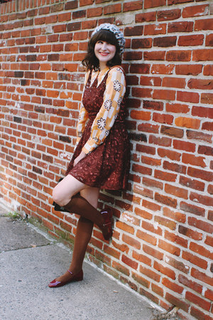 vintage dress - Anthropologie hat - tabbisocks socks - vintage blouse