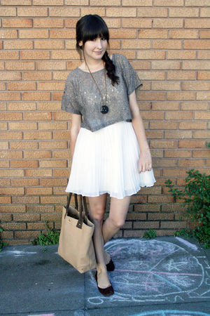 vintage necklace - J Crew shoes - J Crew - H&amp;M top - vintage skirt