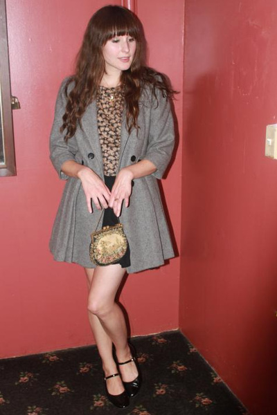 vintage coat - vintage shoes - vintage purse - vintage top - Dema skirt
