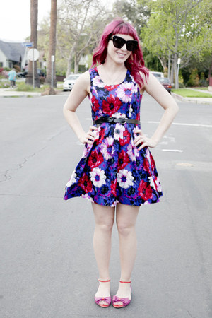 deep purple floral modcloth dress