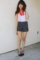 white Richard Chai for Target blouse - gray Forever 21 shorts - brown thrifted s
