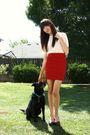 White-thrifted-blouse-red-bdg-skirt-black-seychelles-shoes