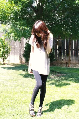 beige Forever 21 shirt - black BDG leggings - black Enzo Angiolini shoes