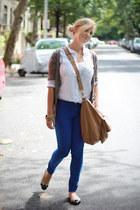 blue J Brand jeans - white silk T Babaton shirt - beige Tahari flats