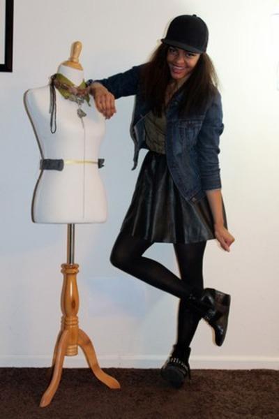 H&M hat - Old Navy jacket - Zara shirt - H&M skirt - Bakers wedges