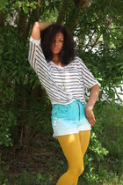 diy ombre Thrift Store shorts - Dillards shirt - Forever 21 tights