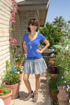 blue American Eagle shirt - black belt - blue American Apparel skirt - beige fra