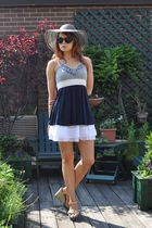 blue Strawberrys top - white Joe Benbasset skirt - beige Louis Vuitton shoes - b