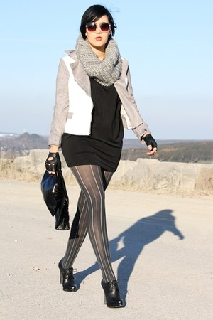 romwe blazer - Evita shoes - H&M dress - Primark scarf