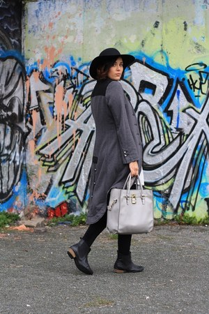 black Deichmann hat - white yest dress - charcoal gray asos coat