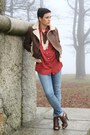 Blue-h-m-jeans-dark-brown-h-m-jacket-brick-red-primark-blouse