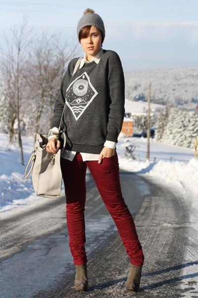 beanie Primark hat - handsome sweater - Primark bag - burgundy pants - blouse