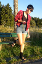 red vintage blazer - blue H&M shorts - black Pimkie shoes