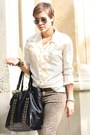 Brown-leo-pimkie-pants-black-leather-urban-code-jacket-cream-vintage-blouse