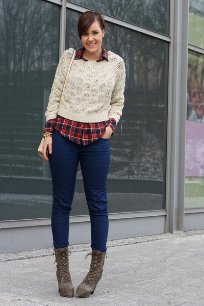 Plaid shirts paperdoll sweaters romwe bags primark for Plaid shirt under sweater