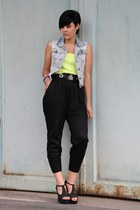 black New Yorker pants - black romwe shoes - lime green Primark shirt
