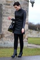 black leather Primark dress - black Deichmann boots