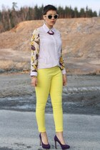jeane blush pants - H&M Trend sunglasses - vintage necklace - Primark heels