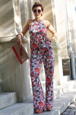 foral met romper - H&M sunglasses - Via Uno heels