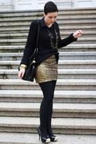 gold sequined H&M skirt - black New Yorker sweater - black H&M blouse