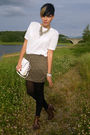 Green-h-m-skirt-white-vintage-shirt-brown-kleiderkeisel-shoes-white-vintag