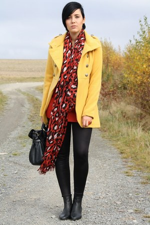 mustard popcouture coat - black asos boots - ruby red 3 suisses sweater
