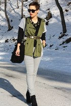 olive green jacket - black Primark boots - black Primark sweater - silver pants