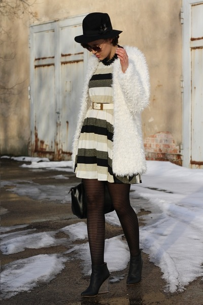 fur coat - H&M boots - stripes AX Paris dress - bag