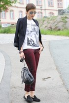 H&M blazer - pieces bag - OASAP pants - studded Sheinside flats