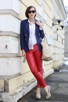 navy H&M blazer - Marc B bag - Primark blouse - red leather 3 suisses pants