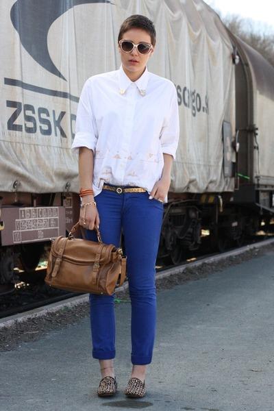 vintage blouse - VJ-style bag - sunglasses - Matiko loafers