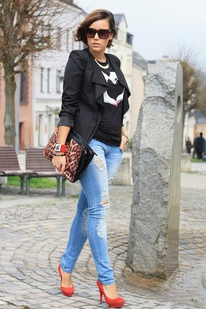 AXPAris shirt - Sheinside blazer - destroyed AXPAris pants - Georgia Rose heels