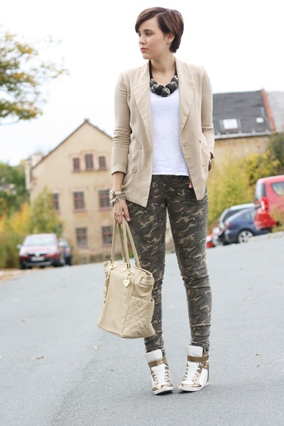 camouflage bought in Paris pants - Sheinside blazer - Zara shirt - Marc B bag